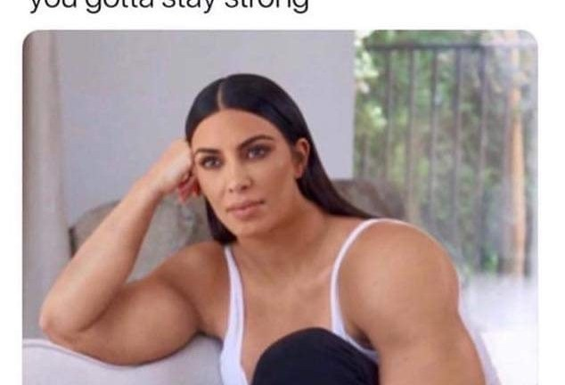 When you miss him but you gotta stay strong Kim kardashian meme