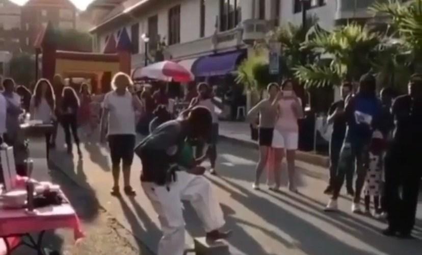 Street performer fails at breaking board
