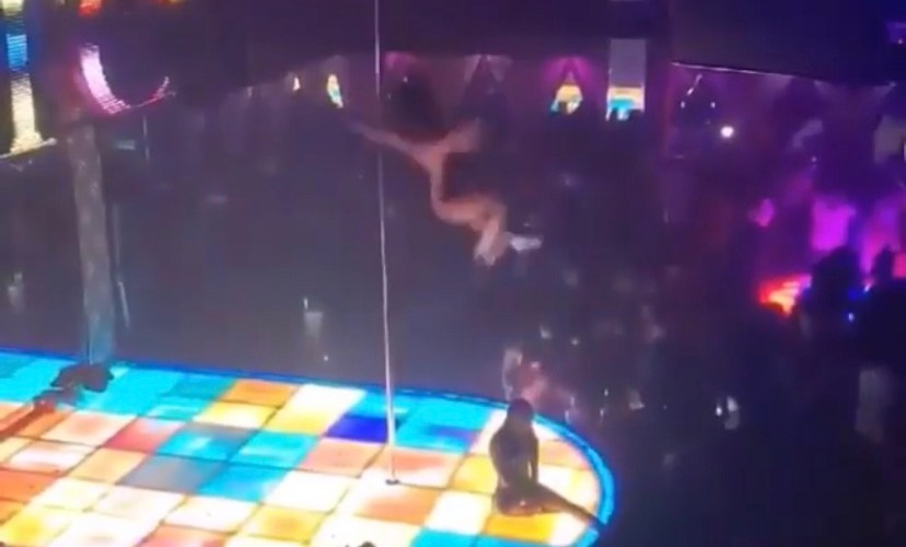Stripper falls from the ceiling during performance