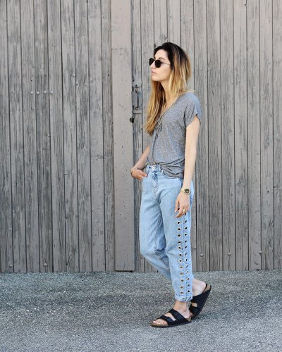 Lace & eyelets mom jeans