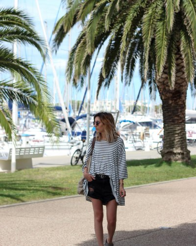 Striped dress & black denim