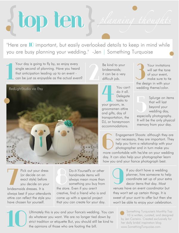 Top Ten Wedding Planning Thoughts