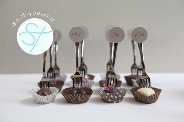 diy mini fork truffle seating cards