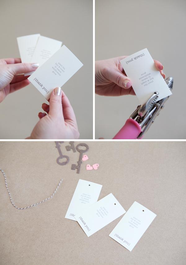 DIY plantable paper skeleton key wedding favor