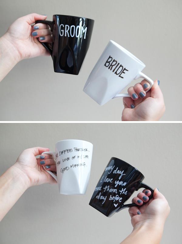 DIY bride and groom coffee mugs