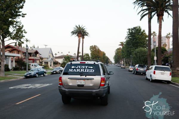 DIY Just Married Car Window Cling