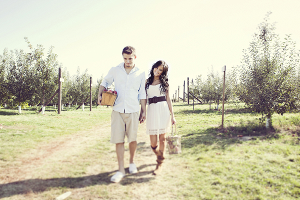 apple picking engagement shoot