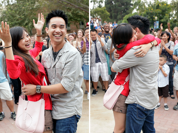 man proposes to girlfriend with a dancing flash mob