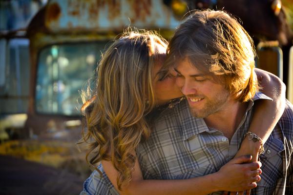 rustic junk yard engagement shoot
