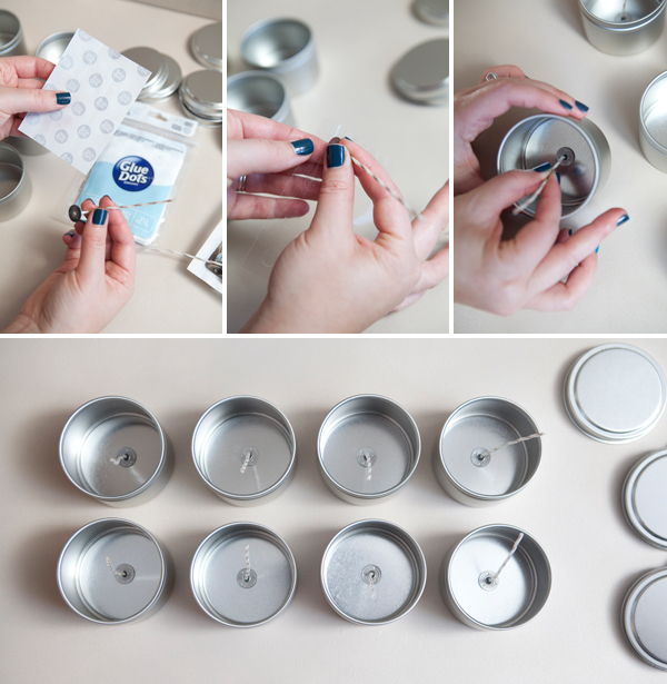 DIY poured glitter tin candles