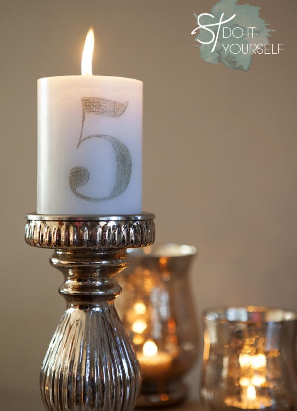 DIY wedding table numbers, DIY Candle table Numbers, Illinois wedding planners