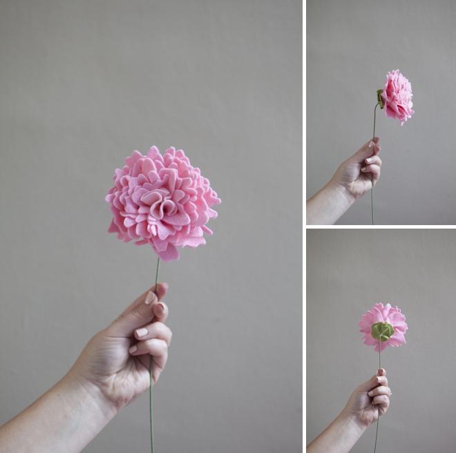 how to make a felt peony flower