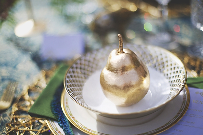 Gold pear table decor
