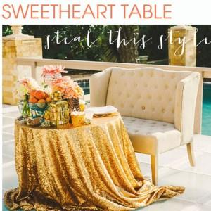 Glittery sweetheart table ideas!