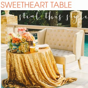 Glittery sweetheart table ideas!