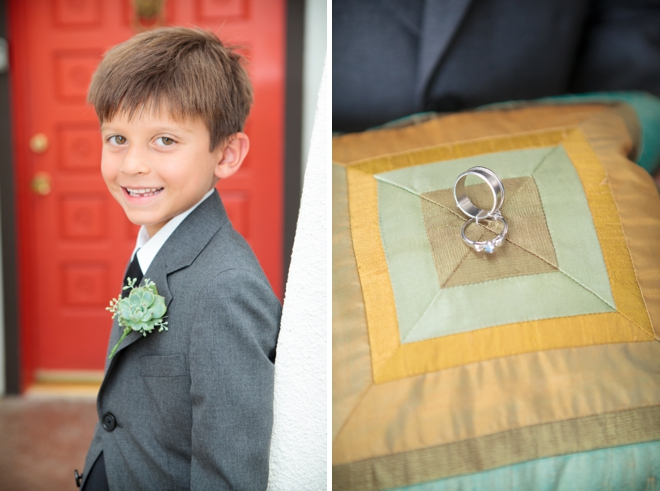 Darling ring bearer with succulent bout
