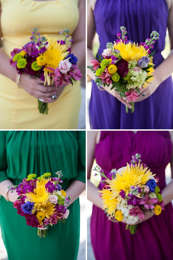 Fiesta themed bridesmaids and their bouquets