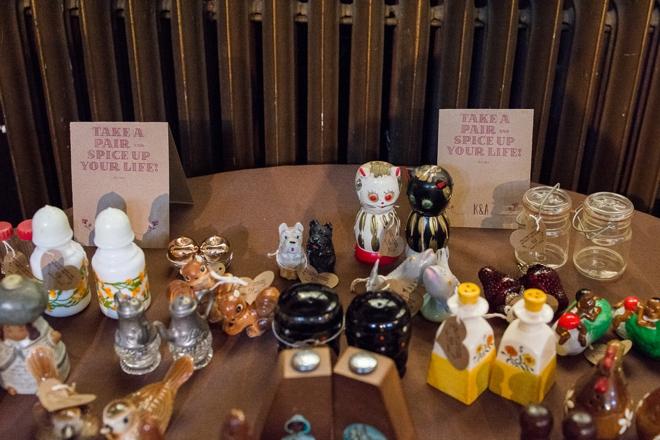 Vintage Salt & Pepper shakers at wedding favors!