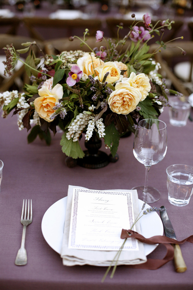 Purple fall themed tablescape