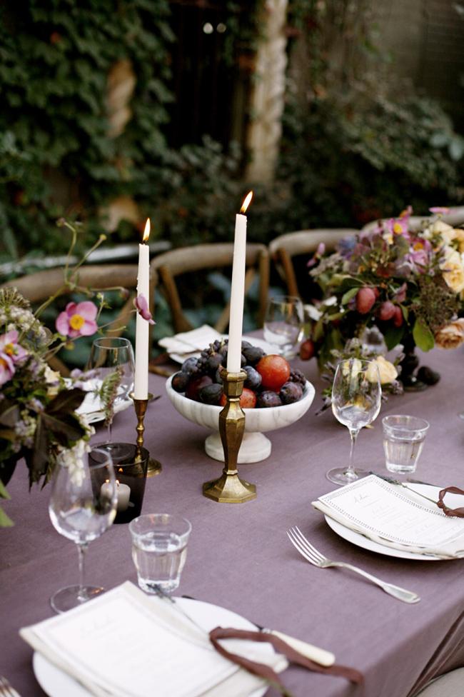 Deep purple fall tablescape
