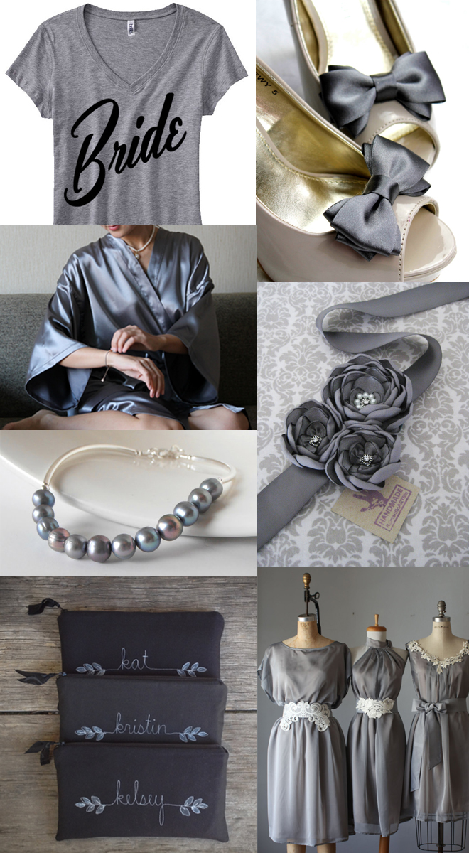 Etsy Wedding inspiration in shades of gray