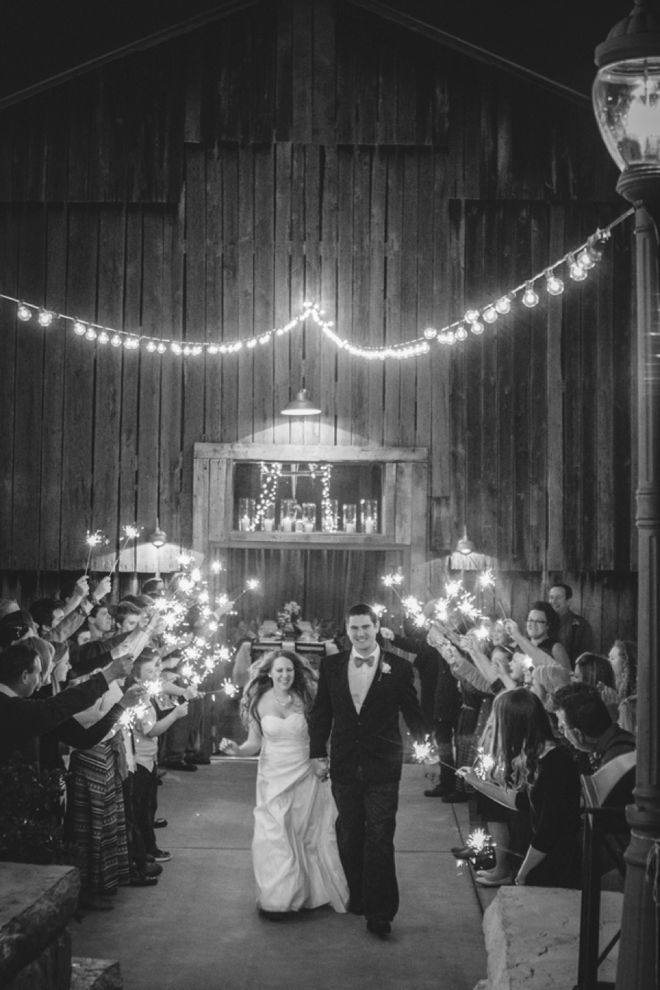 Rustic wedding sparkler exit