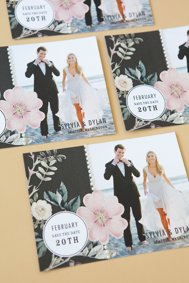 DIY - how to add pearl stickers to your wedding invitations