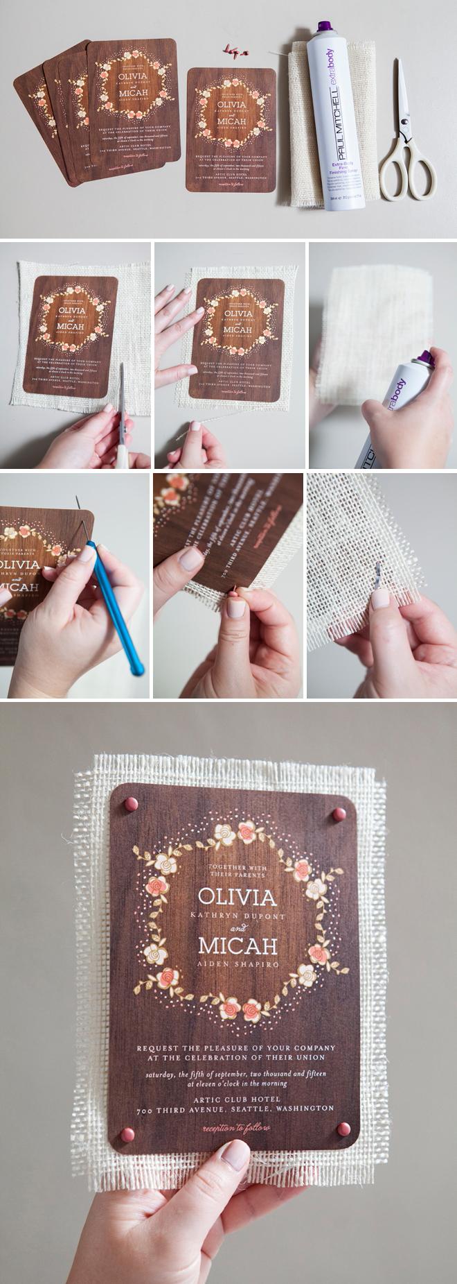 DIY - How to mount your wedding invitation on burlap