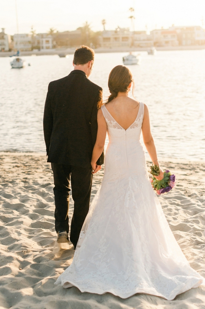 beach bride and groom