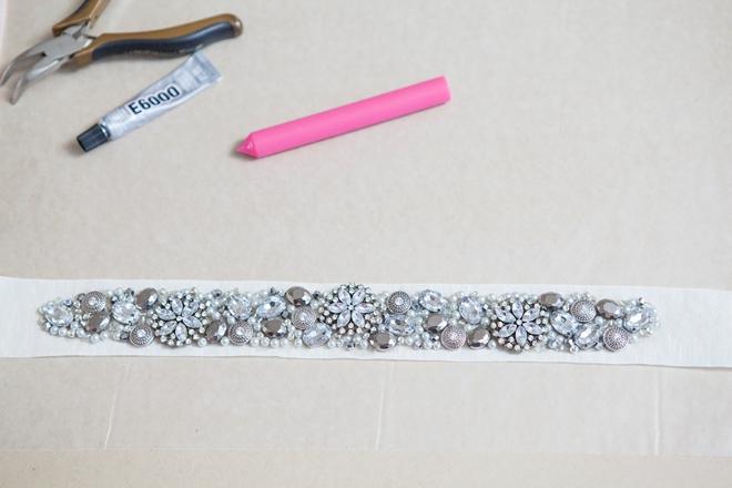 DIY rhinestone bridal sash