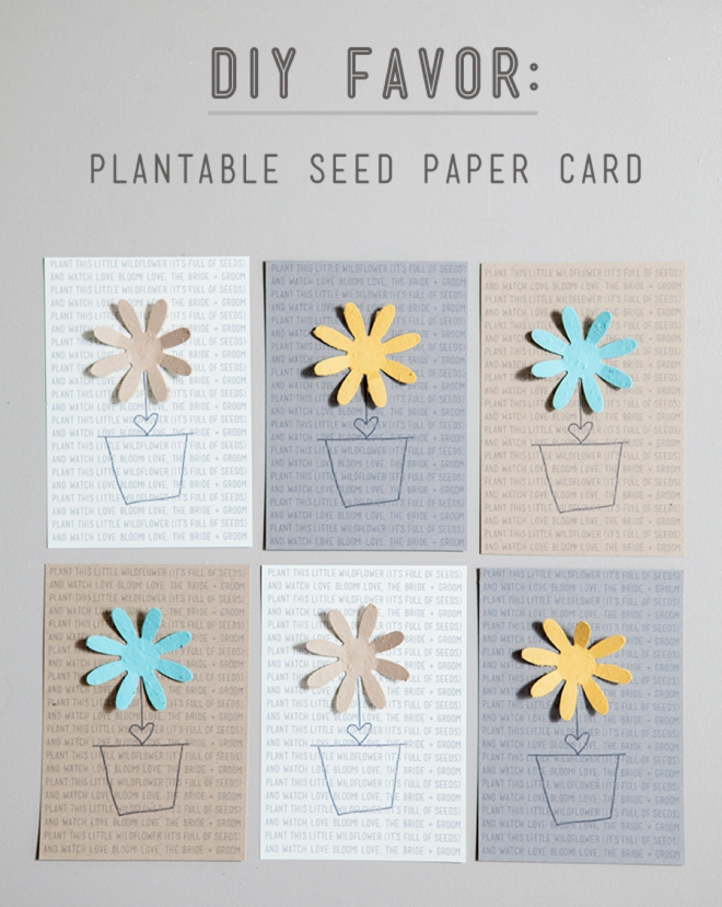 DIY plantable seed paper favors