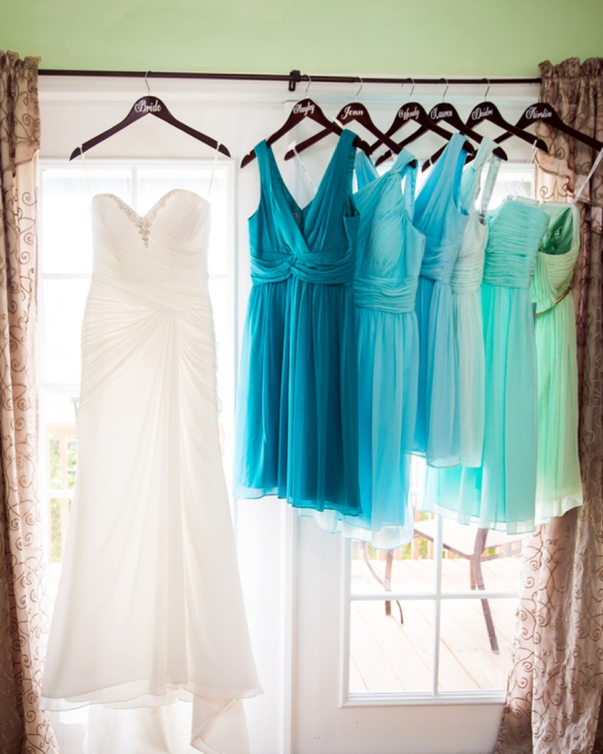 David and leslie had a beautiful turquoise beach wedding for Turquoise bridesmaid dresses for beach wedding