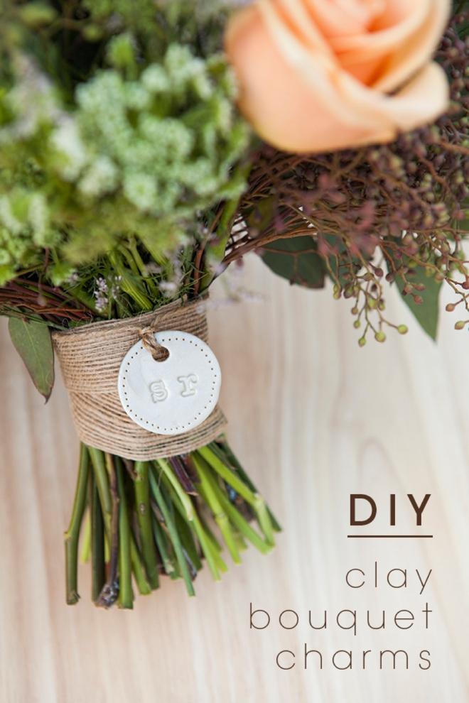 DIY clay wedding bouquet charm