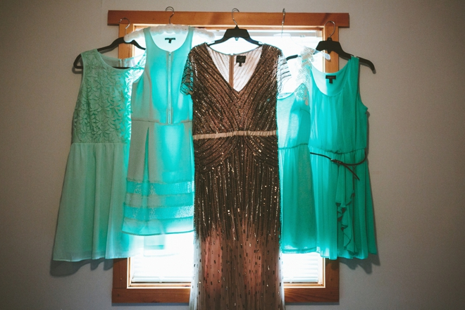 Turquoise bridesmaid dresses and sequin wedding dress