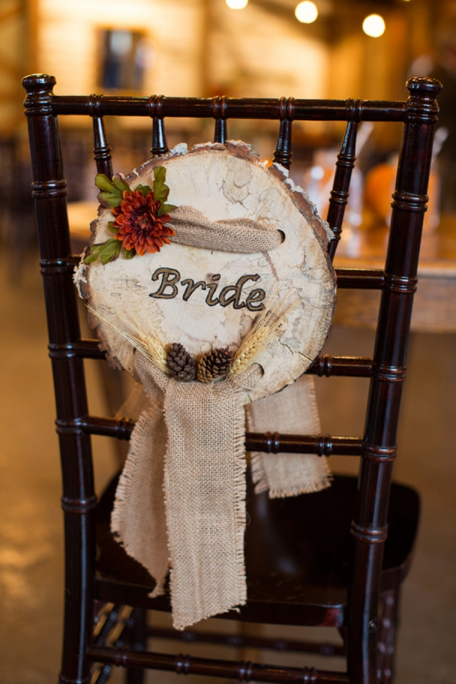 Fall themed Bride and Groom chairs