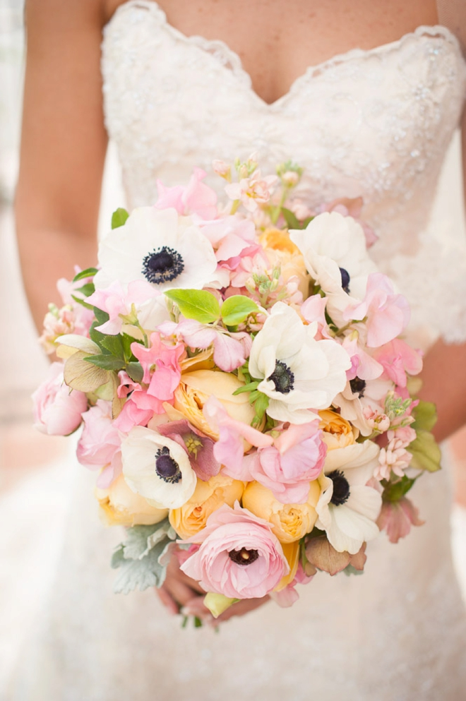 Gorgeous pink, white and yellow bouquet