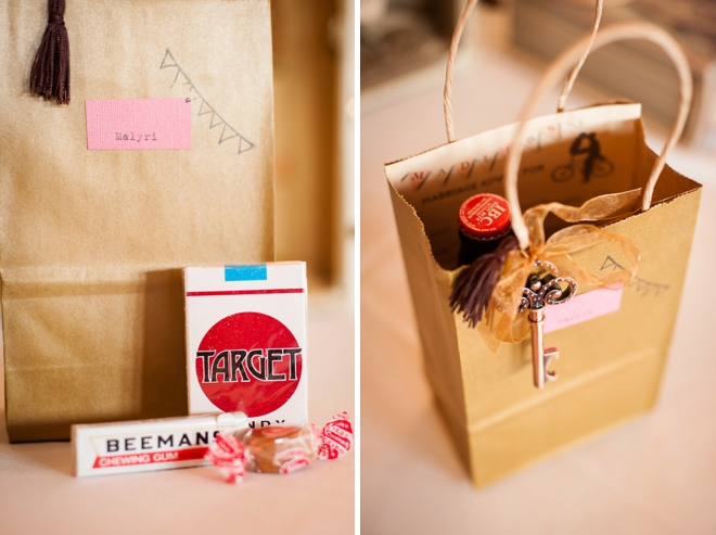 Vintage travel themed favor bags