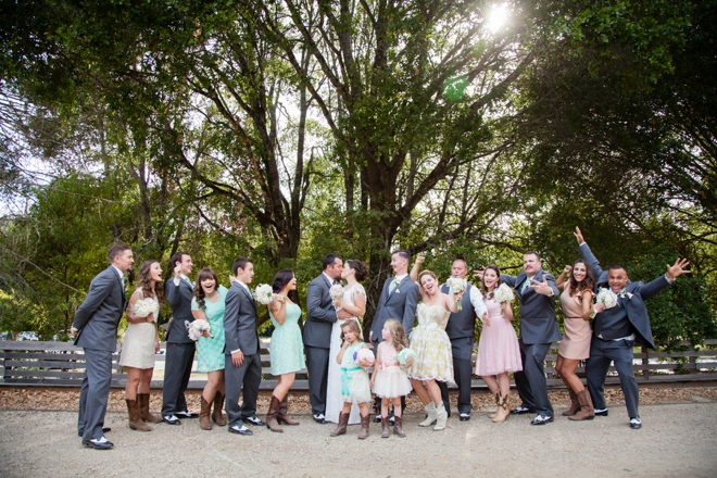 Colorful vintage wedding party