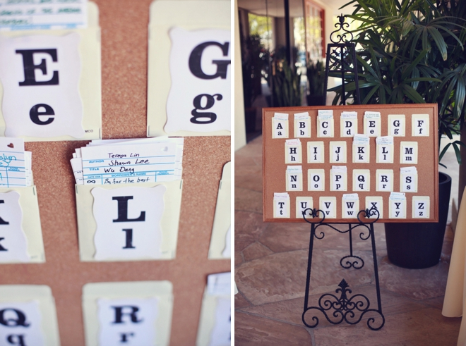Library card seating display for a wedding