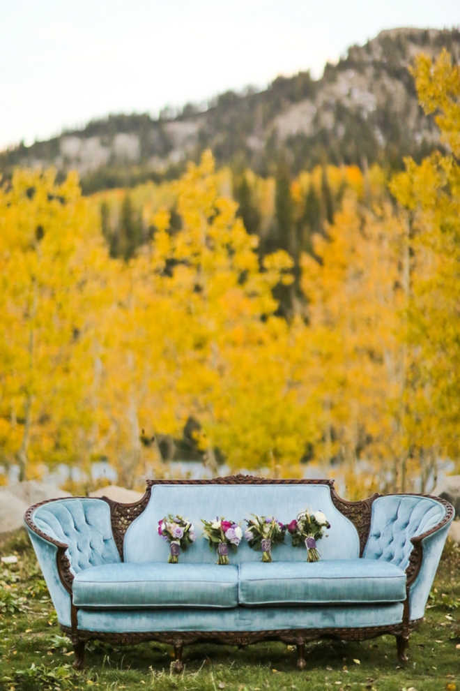 Bouquets on a vintage couch