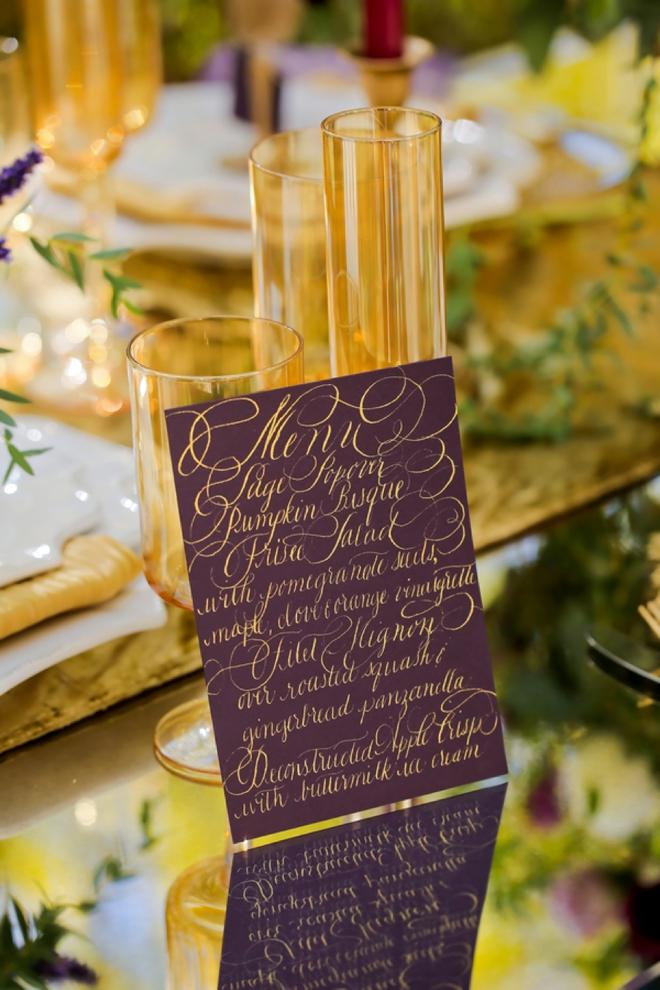 Hand lettered wedding menu