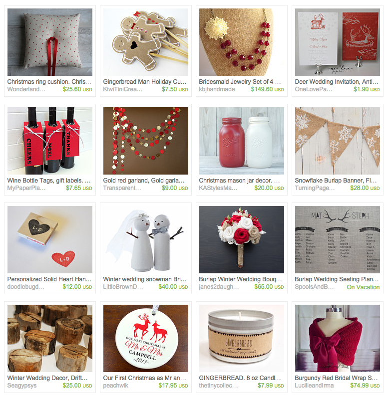 Rustic Ruby Christmas Wedding inspiration from Etsy
