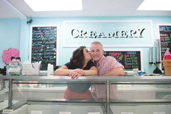 Ice Cream Parlor engagement shoot