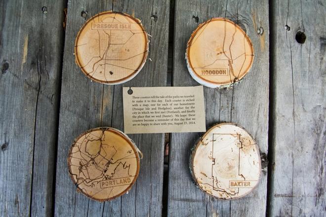 Wooden wedding coasters