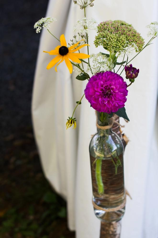 Wine bottle stake vase