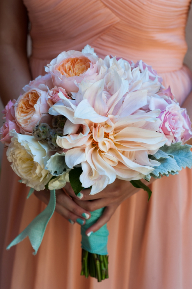 Stunning peach and turquoise bridesmaid bouquet