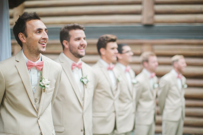 Khaki and pink groomsmen