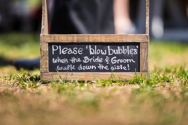 Please blow bubbles at the bride and groom