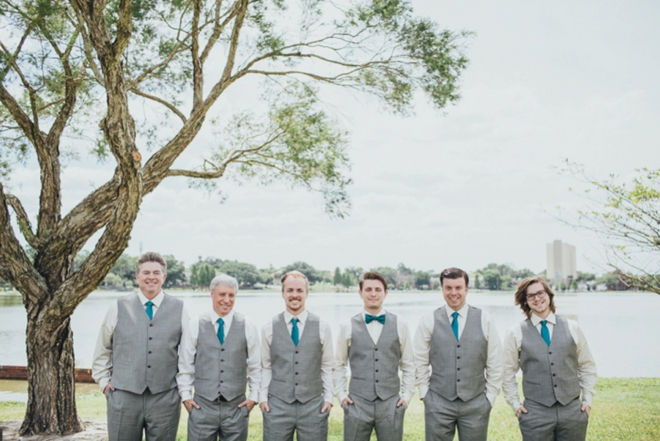 gray and turquoise groomsmen