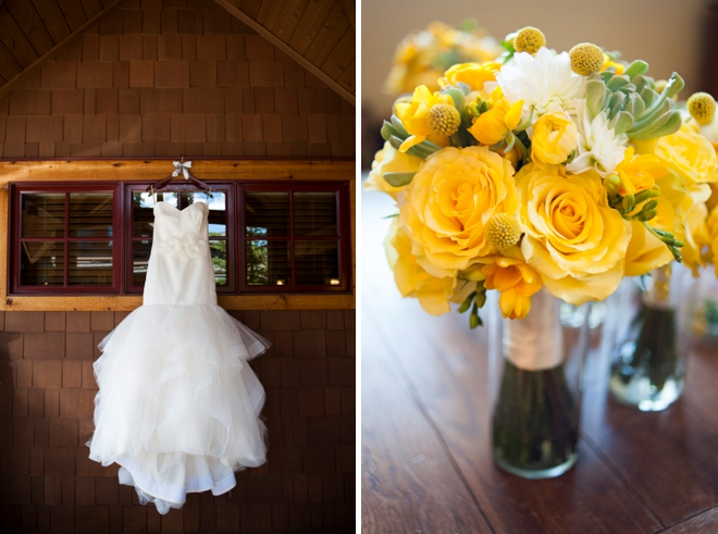 Dress and yellow wedding bouquet